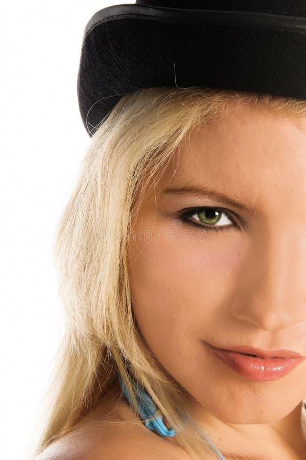Ragazza del bikini del cappello superiore immagine stock