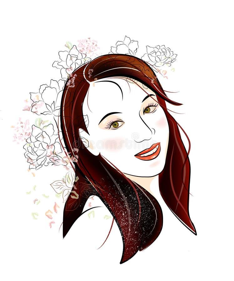 ragazza del brunette con i fiori illustrazione vettoriale