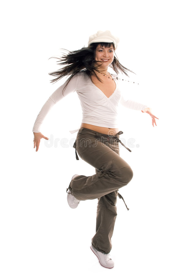 Ragazza del brunette dell'adolescente di dancing di bellezza fotografia stock