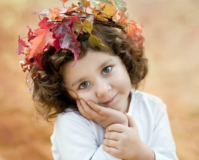 Ragazza del Brunette in una parte superiore di autunno fotografie stock libere da diritti