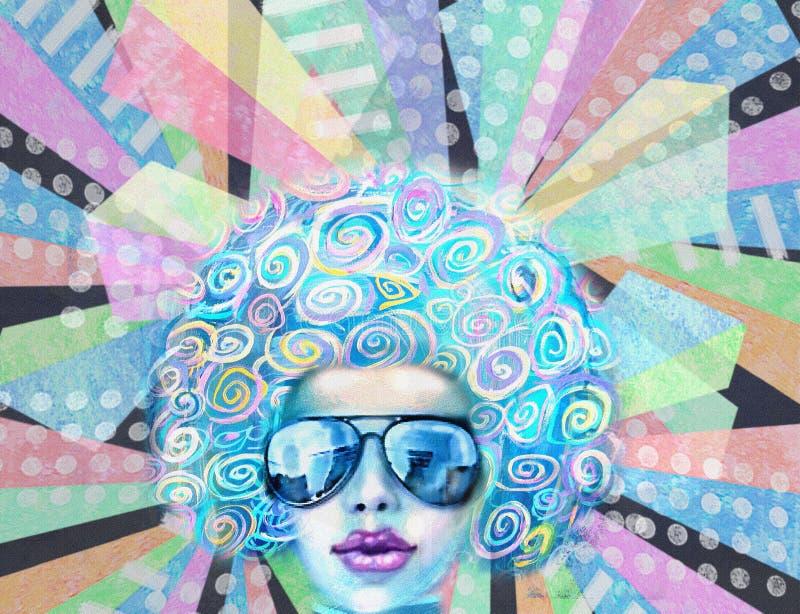 Ragazza del club della discoteca in occhiali da sole Progettazione di Pop art Invito del partito royalty illustrazione gratis