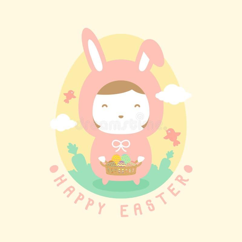 Ragazza del coniglio di Pasqua che tiene il canestro variopinto dell'uovo di Pasqua royalty illustrazione gratis