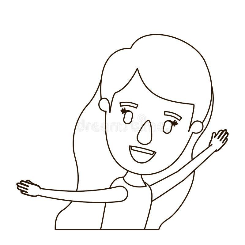 Ragazza del corpo di vista laterale di caricatura di contorno di schizzo mezza con capelli ondulati e le mani lunghi su royalty illustrazione gratis