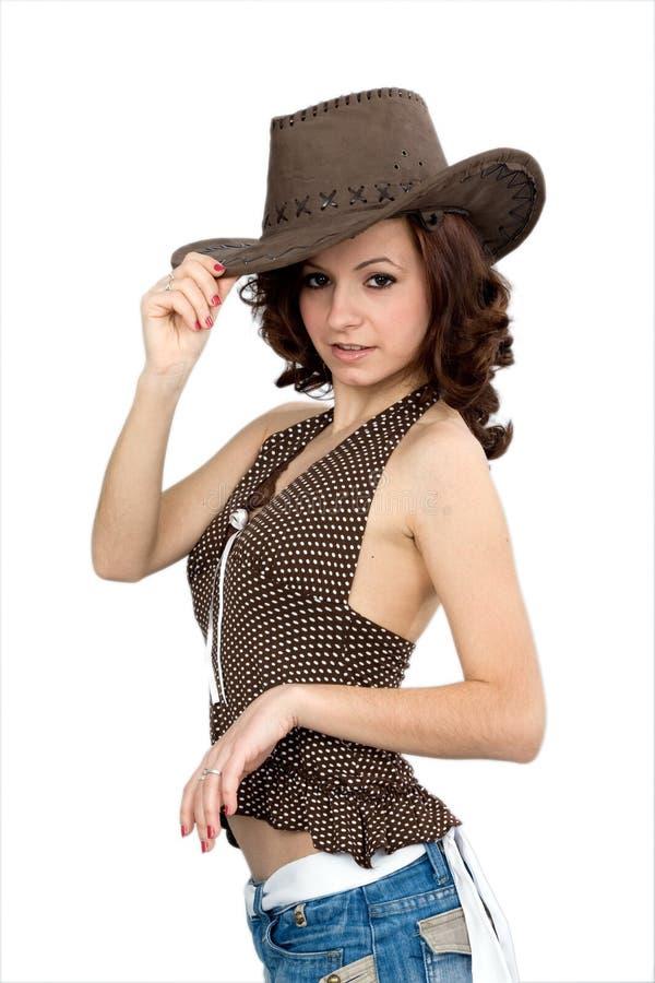 Ragazza del cowboy fotografie stock