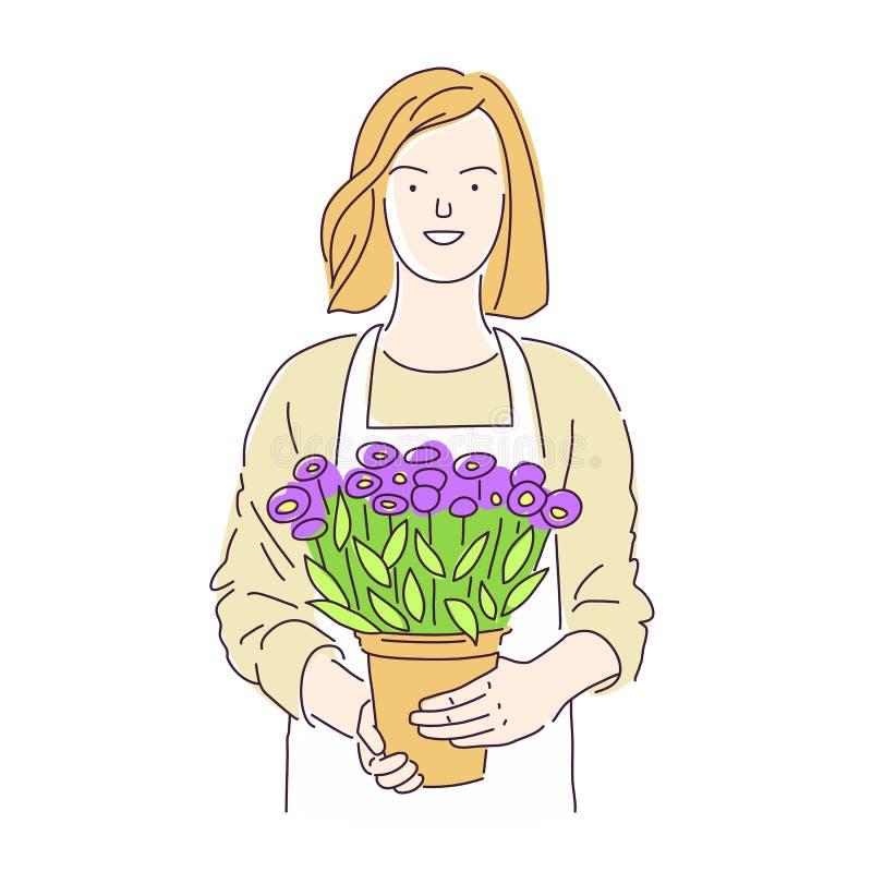 Ragazza del fiorista con un vaso di bei fiori illustrazione di stock