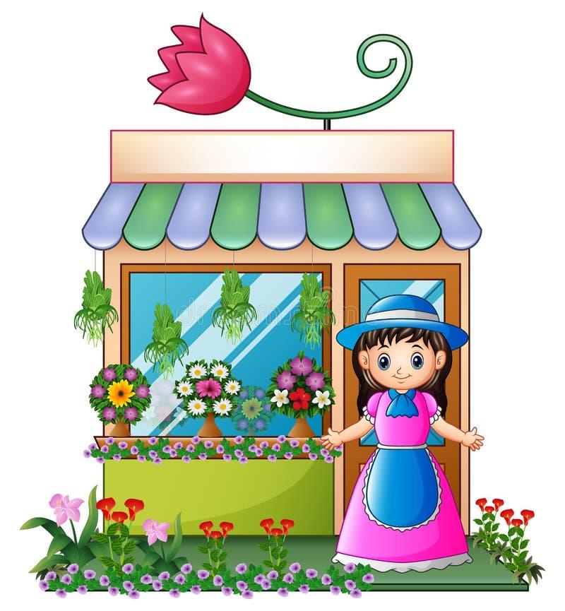 Ragazza del fiorista nel negozio di fiore illustrazione di stock