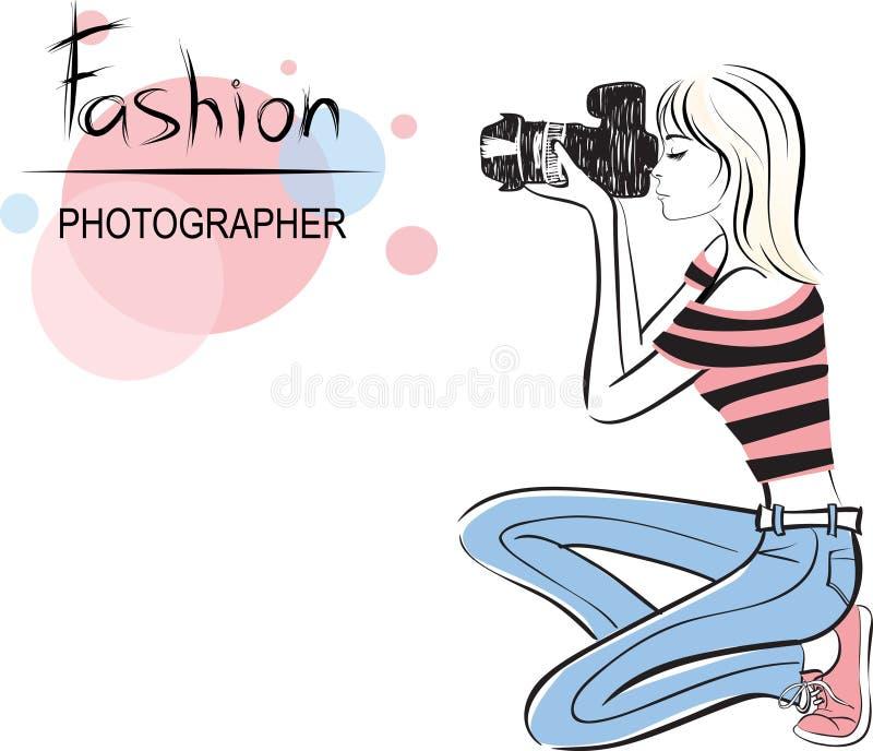 Ragazza del fotografo di modo di bellezza illustrazione vettoriale
