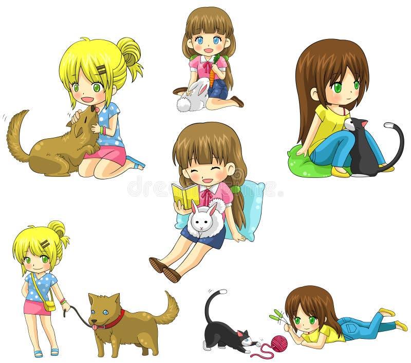 Ragazza del fumetto con il suo insieme della raccolta dell'icona dell'animale domestico illustrazione vettoriale