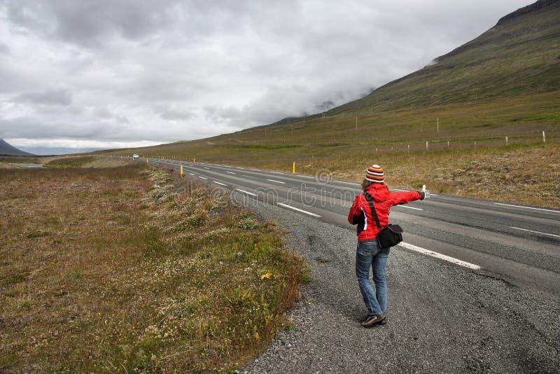 Ragazza del Hitchhiker fotografia stock