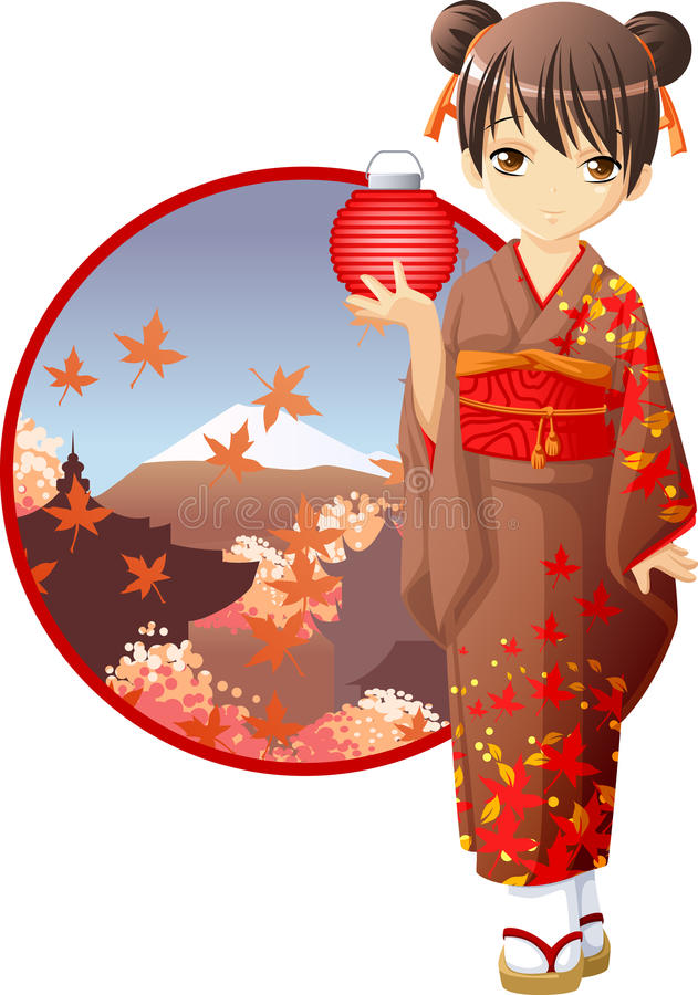 Ragazza del kimono di autunno illustrazione vettoriale