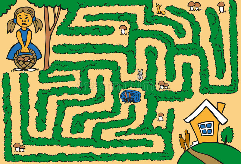 Ragazza del labirinto persa in legno illustrazione di stock