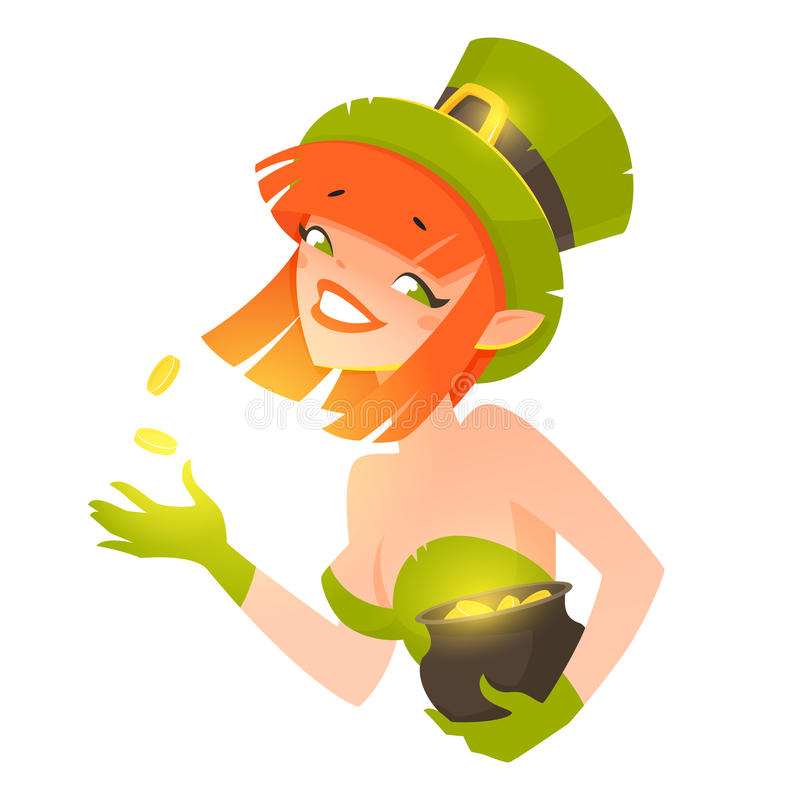 Ragazza del leprechaun royalty illustrazione gratis