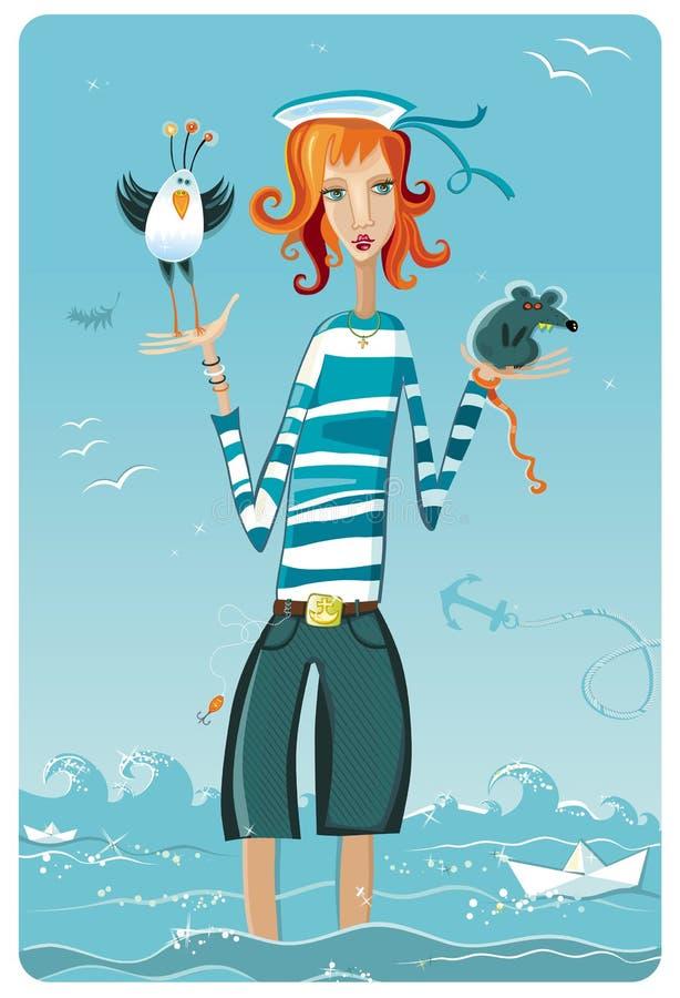 Ragazza del marinaio royalty illustrazione gratis