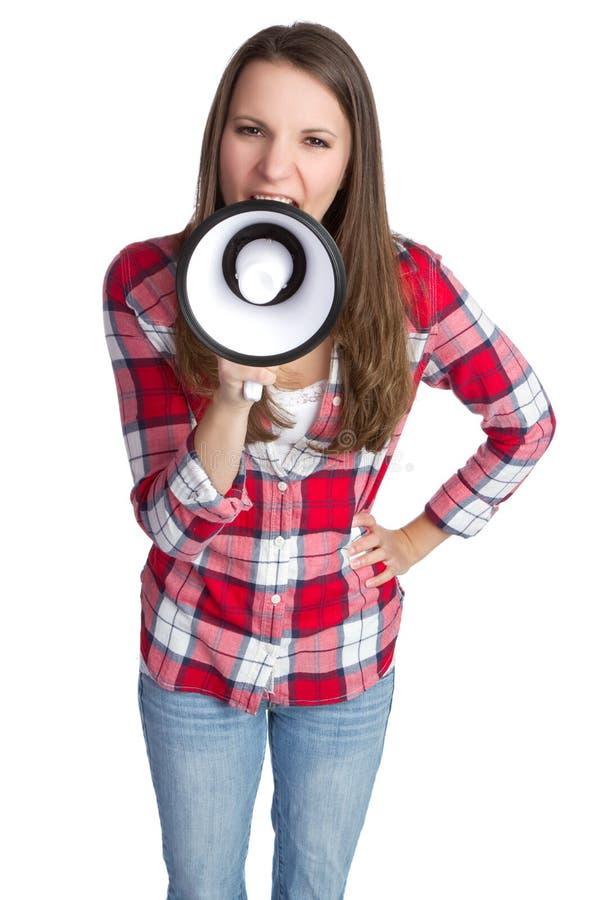 Ragazza del megafono immagini stock libere da diritti