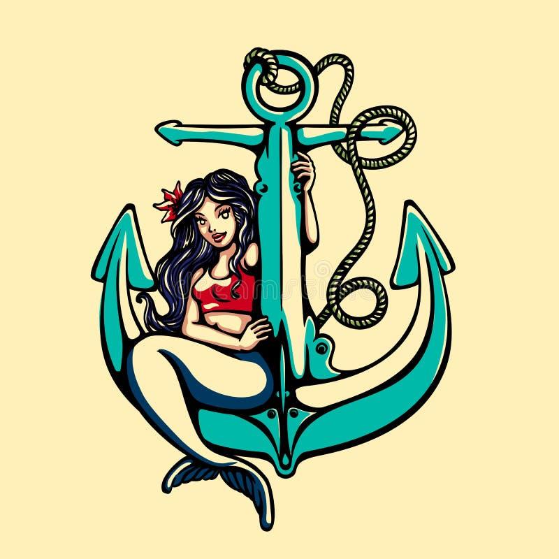 Ragazza del pinup della sirena della sirena che si siede sul vettore del tatuaggio dell'ancora illustrazione vettoriale