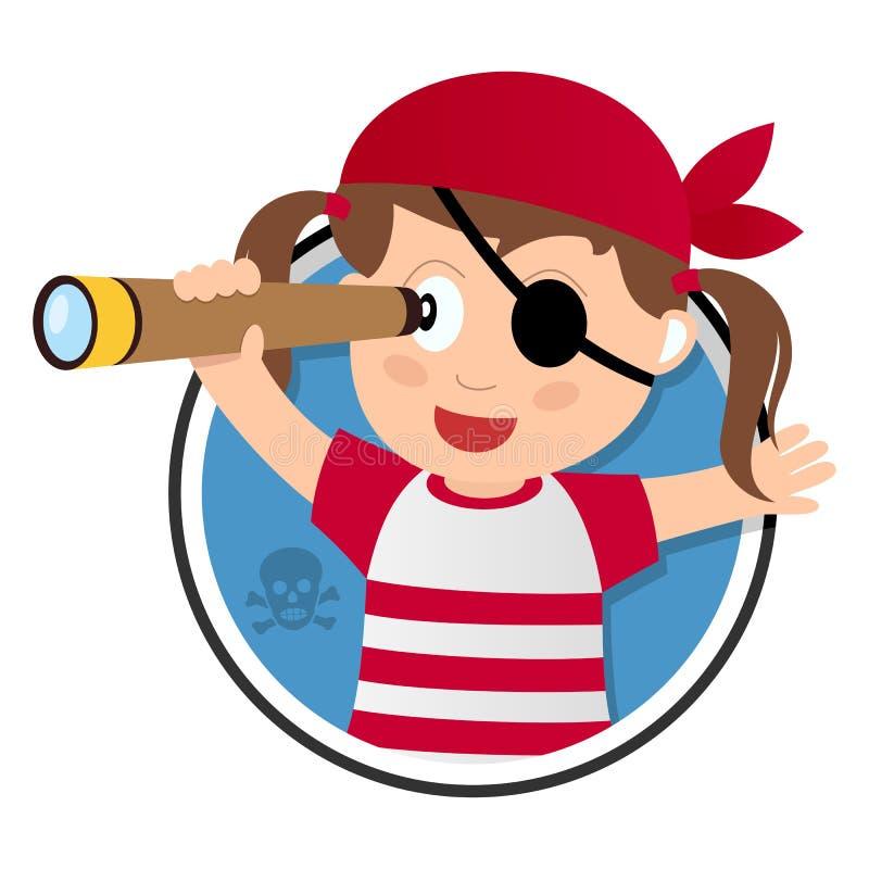 Ragazza del pirata con il logo del cannocchiale illustrazione vettoriale