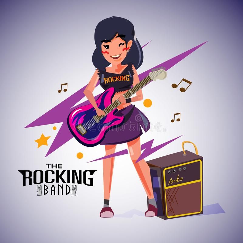 Ragazza del rock star che gioca la sua chitarra progettazione di carattere - ill illustrazione di stock