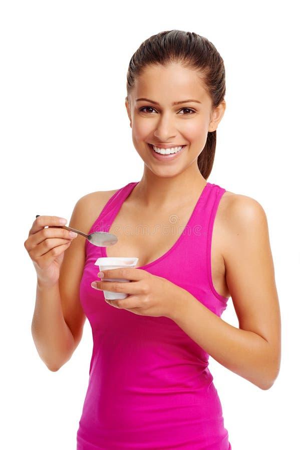 Ragazza del yogurt fotografie stock libere da diritti