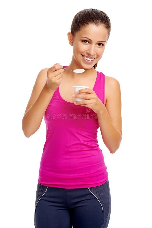 Ragazza del yogurt fotografia stock