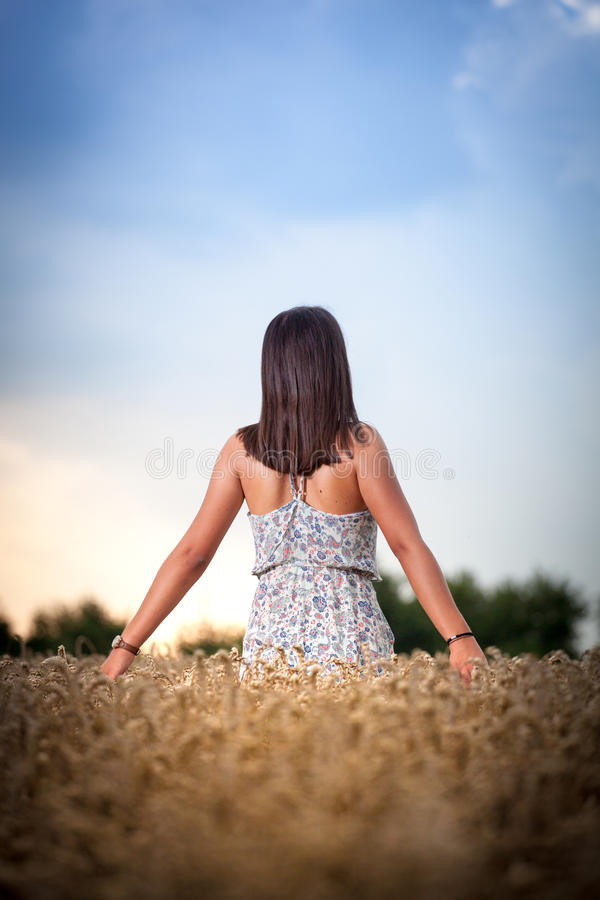 Ragazza dell'adolescente al giacimento di grano immagine stock