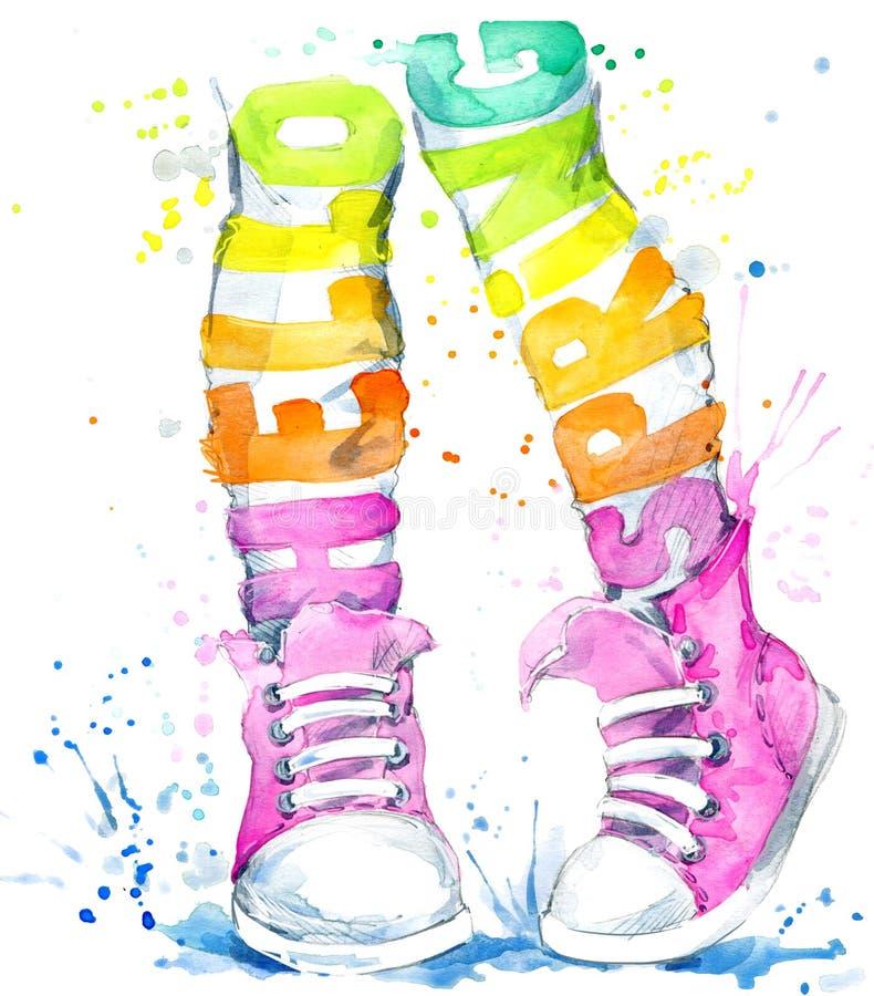 Ragazza dell'adolescente dell'acquerello in scarpe da tennis illustrazione di stock