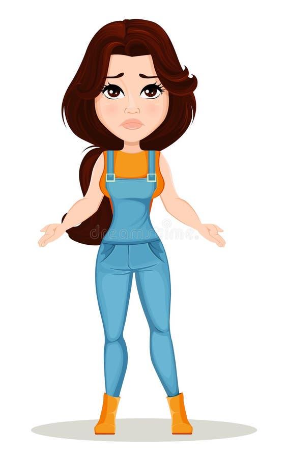 Ragazza dell'agricoltore vestita in tuta del lavoro Il personaggio dei cartoni animati sveglio sembra perso o deludente royalty illustrazione gratis