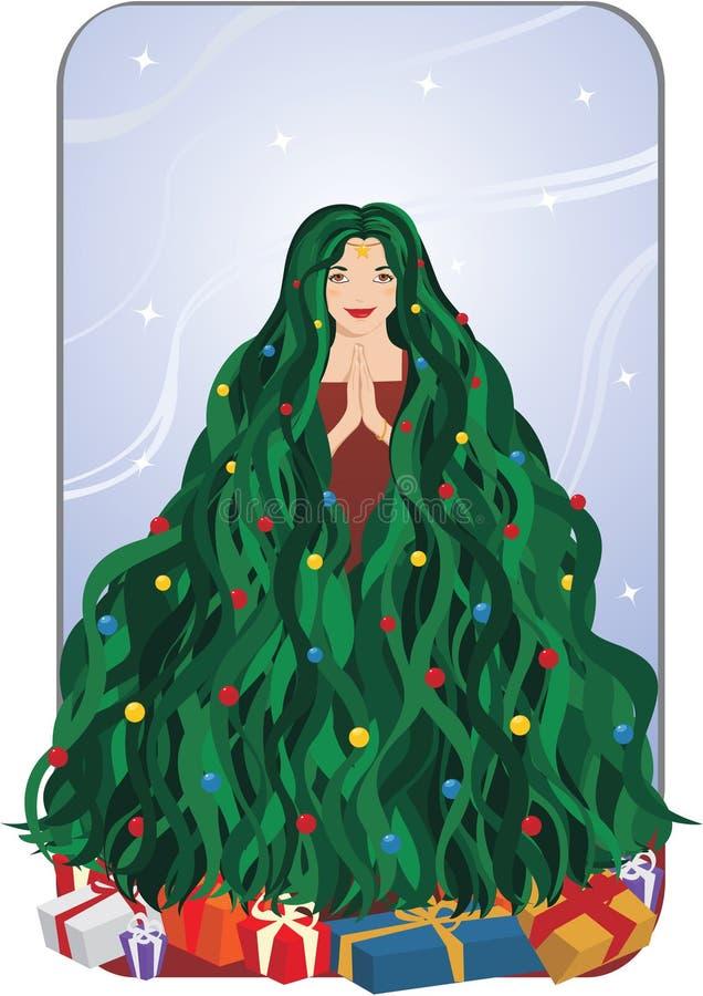 Ragazza dell'albero di Natale fotografia stock