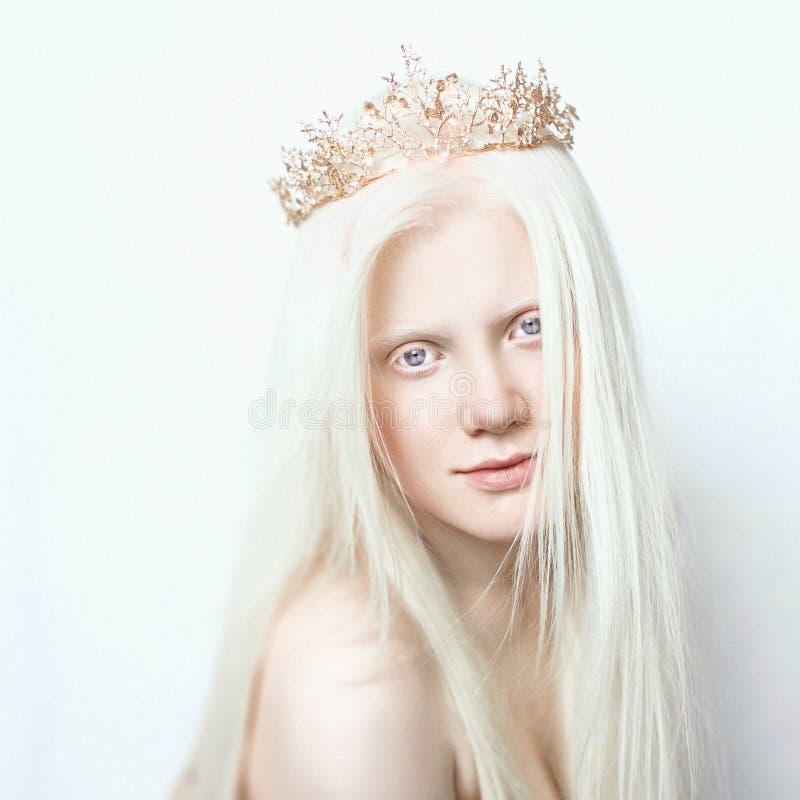 Ragazza dell'albino con pelle bianca, le labbra naturali ed i capelli bianchi Fronte della foto su un fondo leggero Ritratto dell fotografia stock