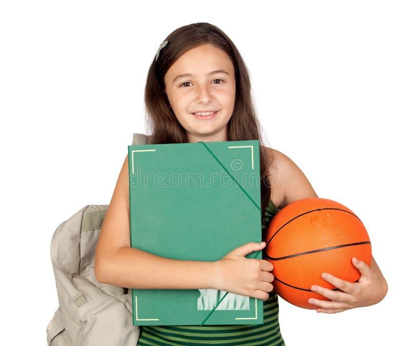 Ragazza dell'allievo con il dispositivo di piegatura, lo zaino e la pallacanestro fotografia stock