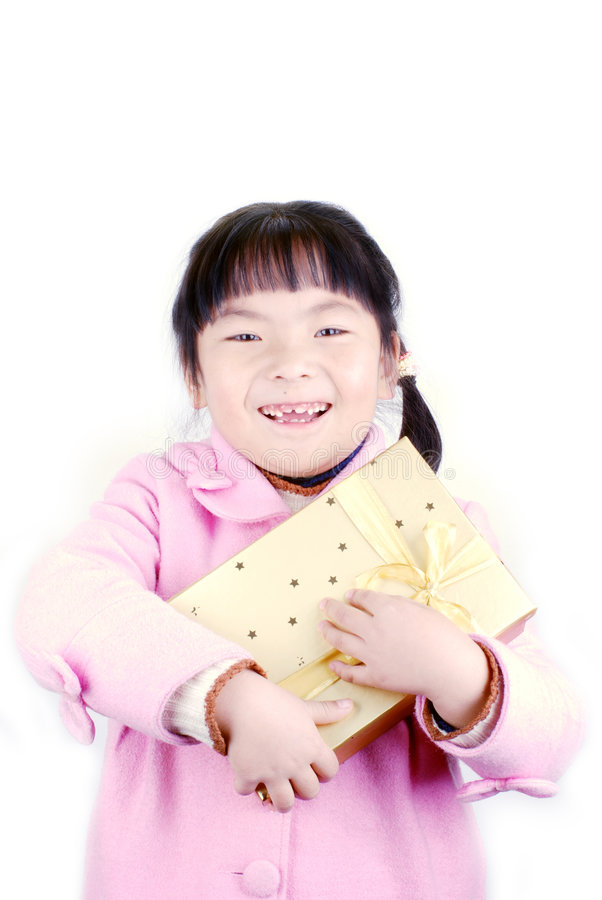 Ragazza dell'Asia con il regalo in mani fotografie stock libere da diritti