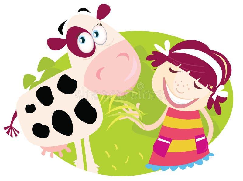 Ragazza dell'azienda agricola con la piccola mucca royalty illustrazione gratis