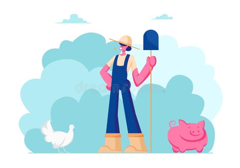 Ragazza dell'azienda agricola in pala funzionante della tenuta del cappello e dell'uniforme a disposizione Zootecnia, avicoltura, illustrazione vettoriale