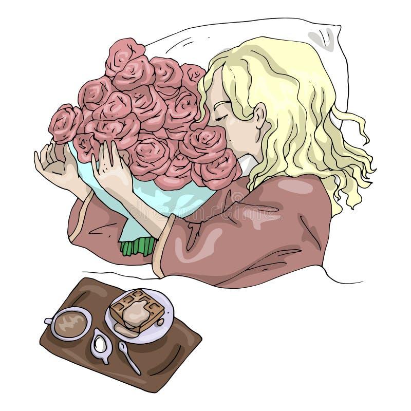 Ragazza dell'illustrazione di vettore con la prima colazione di mattina dei fiori a letto illustrazione di stock