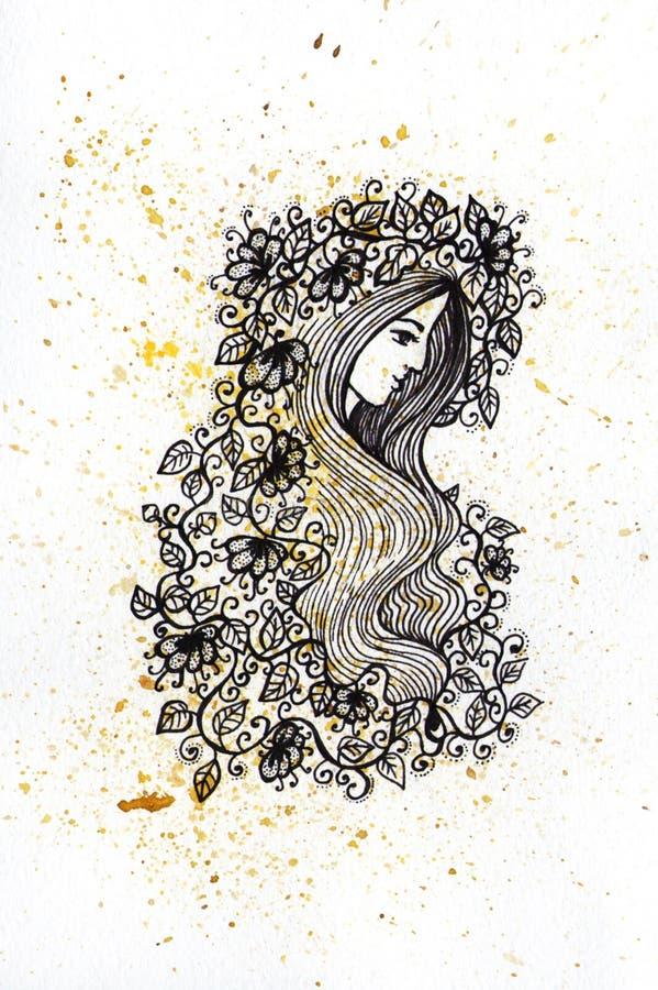 Ragazza dell'inchiostro e dell'acquerello con l'illustrazione dei fiori royalty illustrazione gratis