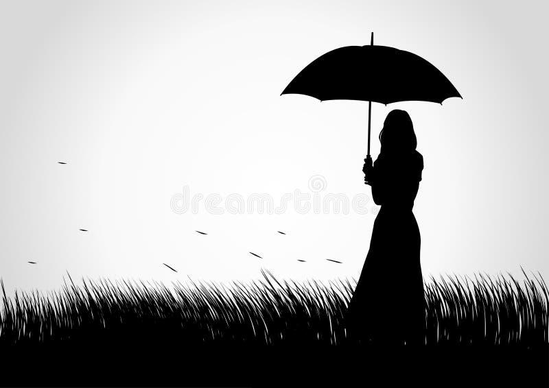 Ragazza dell'ombrello illustrazione di stock