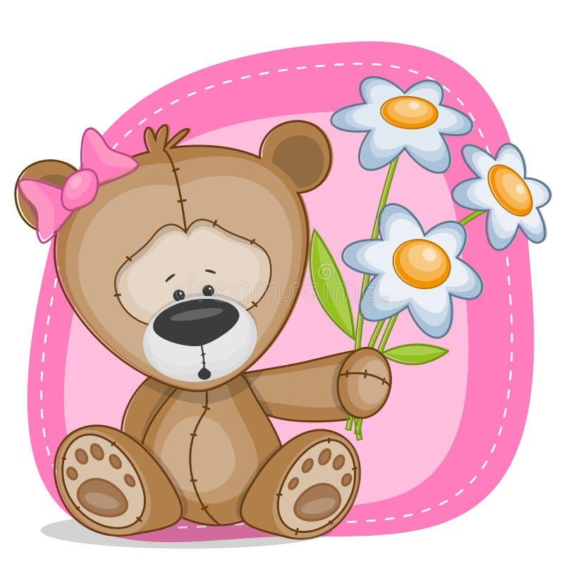 Ragazza dell'orso con i fiori illustrazione di stock