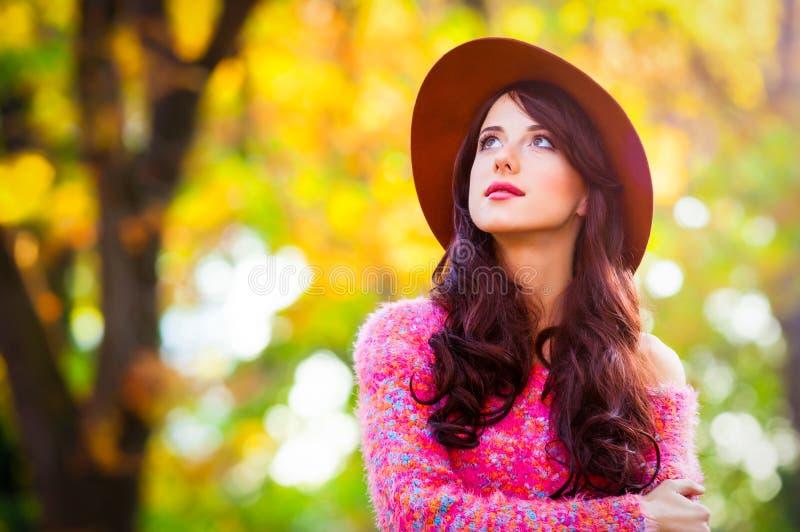 Ragazza della brunetta in maglione rosa fotografia stock libera da diritti