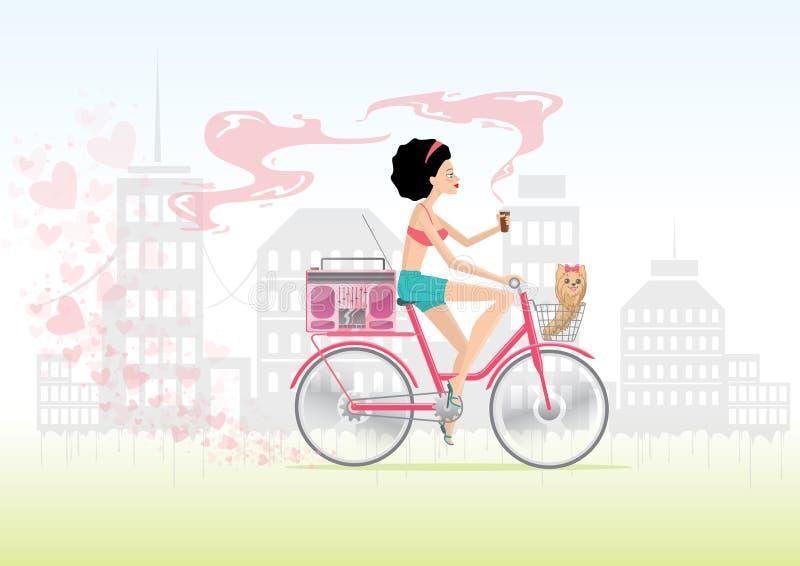 Ragazza della città nell'amore sulla bici con il cucciolo fotografia stock