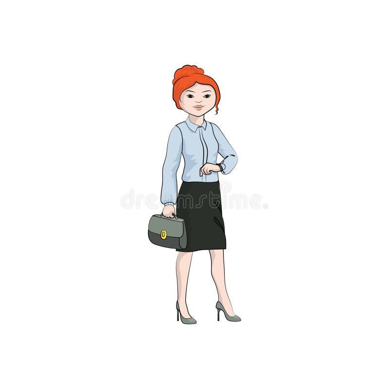 Ragazza della donna di affari, donna con un caso e sguardi all'orologio Colore di vettore illustrazione di stock