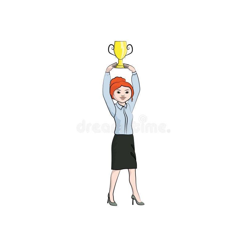 Ragazza della donna di affari, donna con un trofeo della tazza Colore di vettore royalty illustrazione gratis