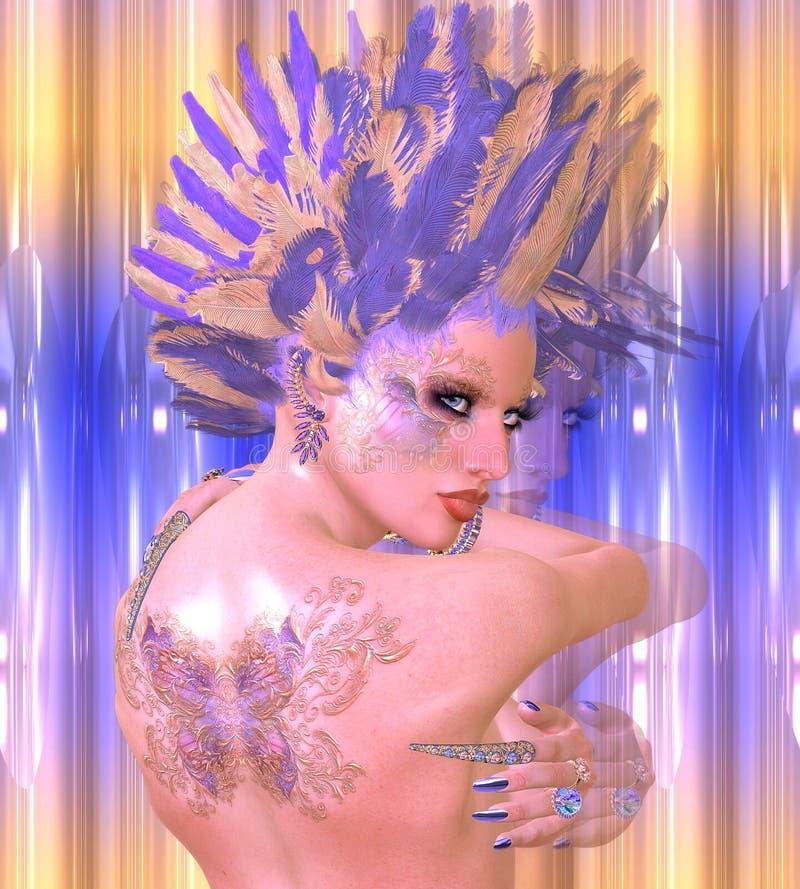 Ragazza della farfalla Bellezza di arte e scena digitali moderne di fantasia di modo con la porpora e le piume dell'oro immagine stock libera da diritti