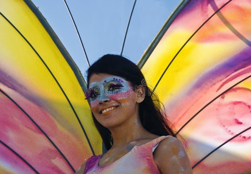 Ragazza della farfalla di carnevale immagini stock libere da diritti