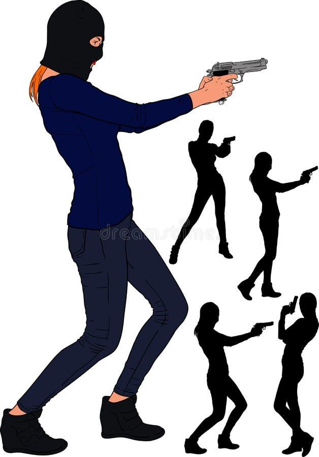 Ragazza della pistola di Balaclava illustrazione di stock