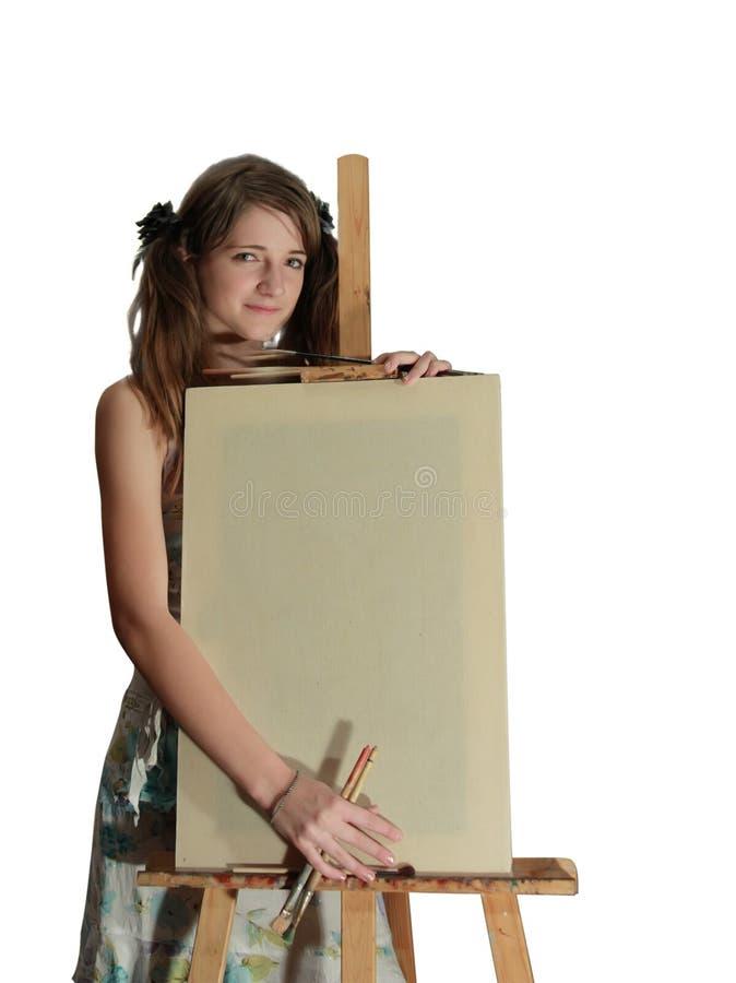 Ragazza della pittura fotografia stock