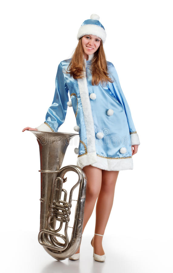 Ragazza della Santa con la grande tromba fotografie stock