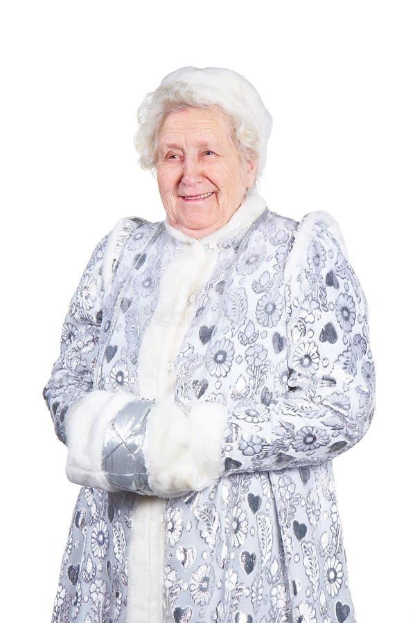 Ragazza della signora anziana neve fotografia stock libera da diritti