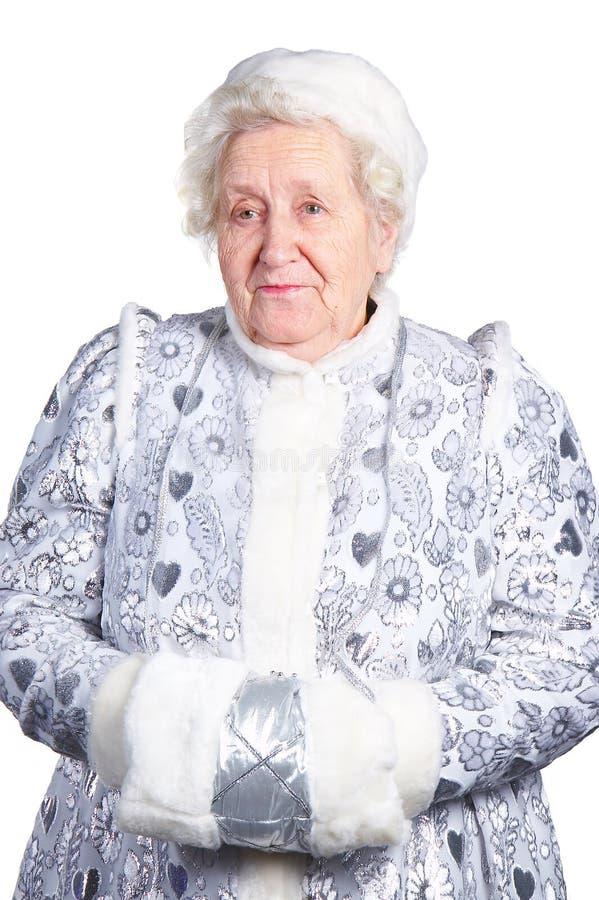 Ragazza della signora anziana neve immagine stock libera da diritti