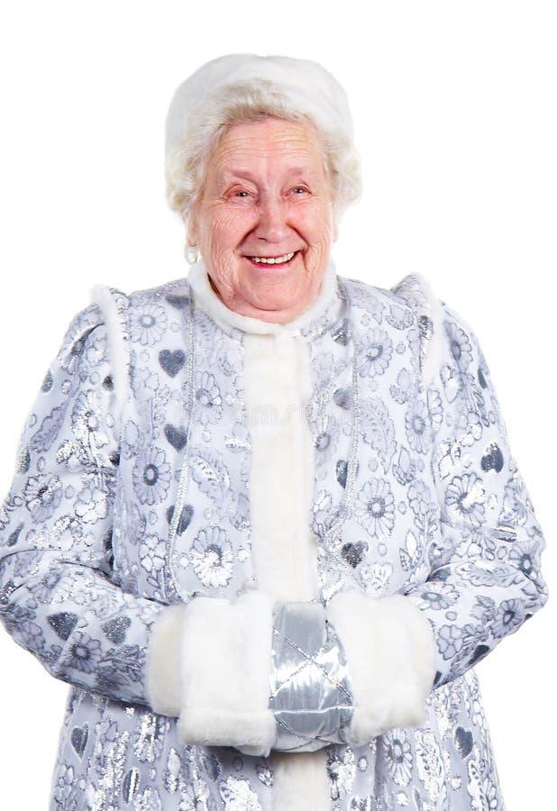 Ragazza della signora anziana neve fotografie stock libere da diritti