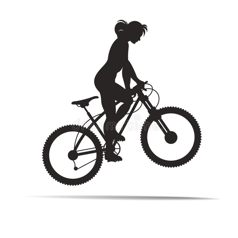 Ragazza della siluetta che salta con la bici illustrazione di stock