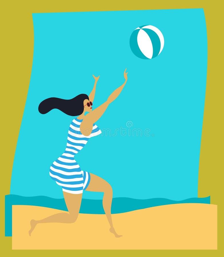 Ragazza della spiaggia dell'annata illustrazione di stock